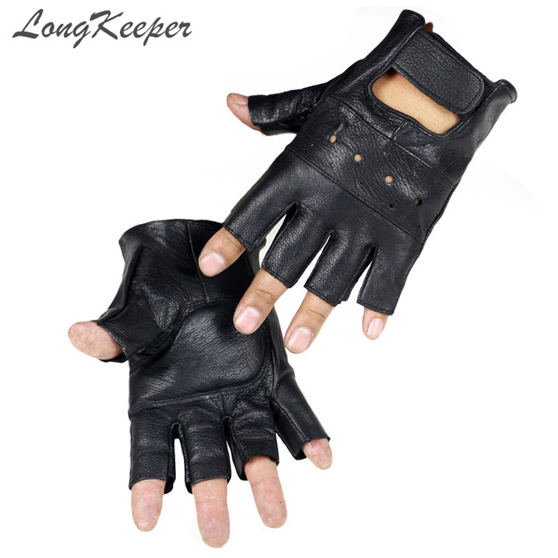 LongKeeper 2017 New Style Mens Sheep Leather Driving Hansker Fitness Hansker Half Finger Tactical Hansker Black Guantes Luva G232