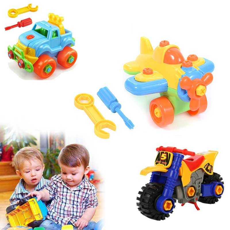 Children Train Car Toy DIY Disassembling Plane Car Building Blocks Model Tool With Screwdriver Assembled Educational Toys