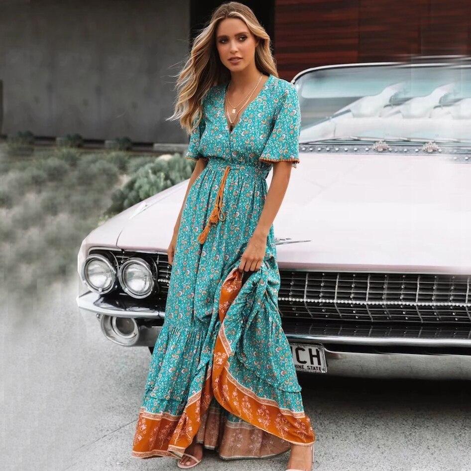 Khale Yose Vintage Green Floral Print Women Maxi Dress V Neck Tassel Ruffle Tie Lace Up Long Boho Summer Beach Dresses 2019