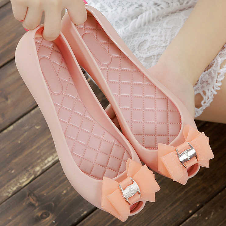 43d68018db1d women casual shoes jelly shoes Nude Sandals Peep Toe Bow Tie Slip-On  ballerina Flats