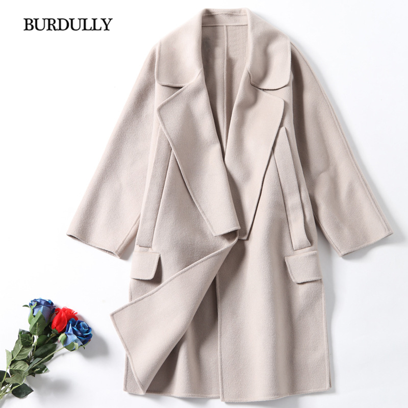 BURDULLY Classic Style Beige Coat Women 2018 Winter Cashmere Wool Coat Thickening Warm Elegant Jackets High Quality Overcoat