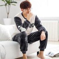 JRMISSLI Men S Nightwear Winter Flannel Pajama Set Loungewear Male Sleepwear Comfortable Long Sleeve Pyjamas For