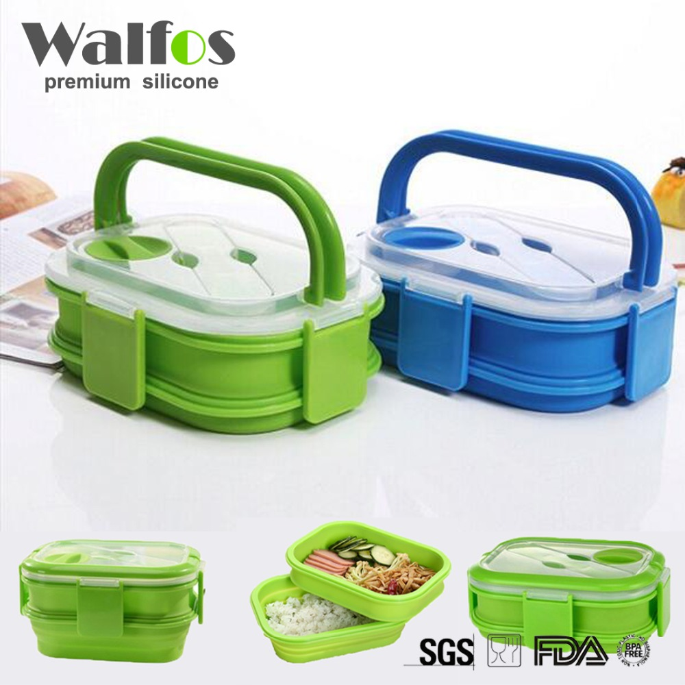 buy walfos 2 layers colorful silicone lunch box with handle silicone bento. Black Bedroom Furniture Sets. Home Design Ideas