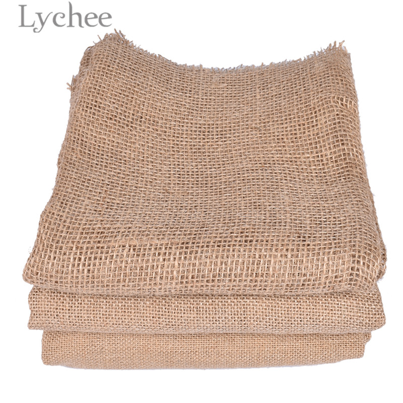 Lychee 50x160cm Natural Jute Fabric Retro Style Fabric DIY Handmade Materials For Bags Decorations 1