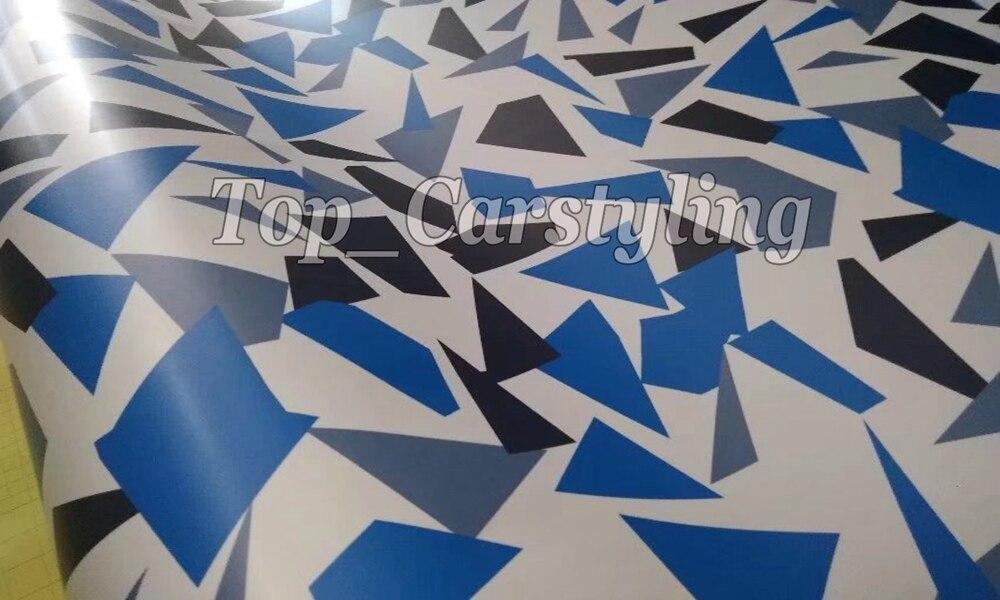 Protecteur bleu blanc Camouflage housse de voiture en vinyle adhésif autocollant bricolage rouleau de dégagement d'air