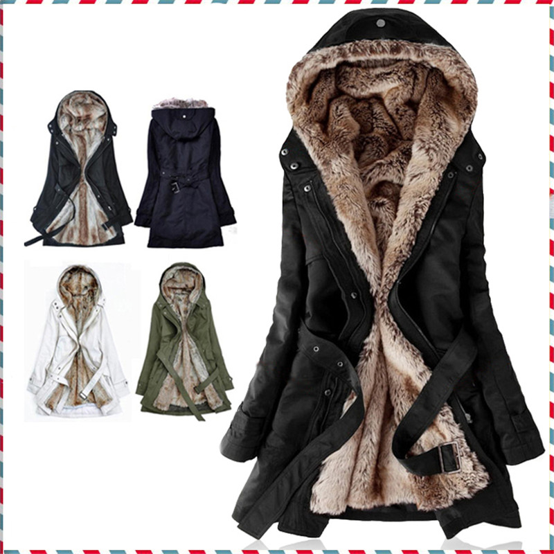 Thick Faux fur lining women s fur Hoodies winter warm long fur inside coat jacket cotton