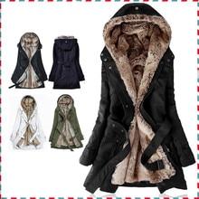 Толстая Искусственного меха шерсти женщин подкладки Толстовки зима теплая длинный мех внутри пальто куртки хлопка одежды тепловые парки