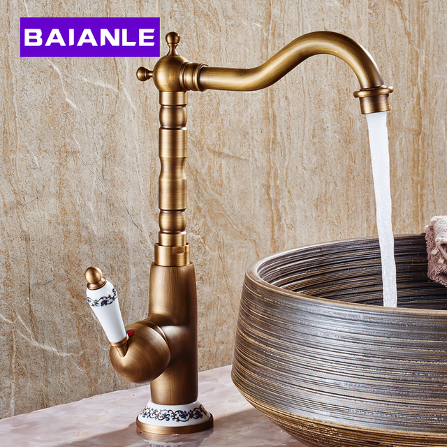 BAIANLE Bathroom Basin Faucet Antique Brass Ceramic Rotatable Sink Faucets Deck Mounted Retro Cold and Hot Water Mixer Tap