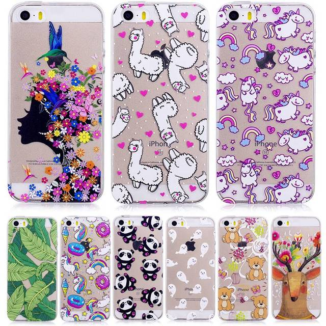 sale retailer 77329 33337 US $3.9 | Phone Cover For iphone 5s Case Cute Transparent TPU Silicone  Luxury Ultra Slim Panda Flower Back Cover Animal For iphone SE 5-in Fitted  ...