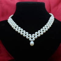 REAL PEARL Fashion Freshwater Pearl Necklace Party Wedding Necklace Handmade Jewelry Choker Women's Necklace