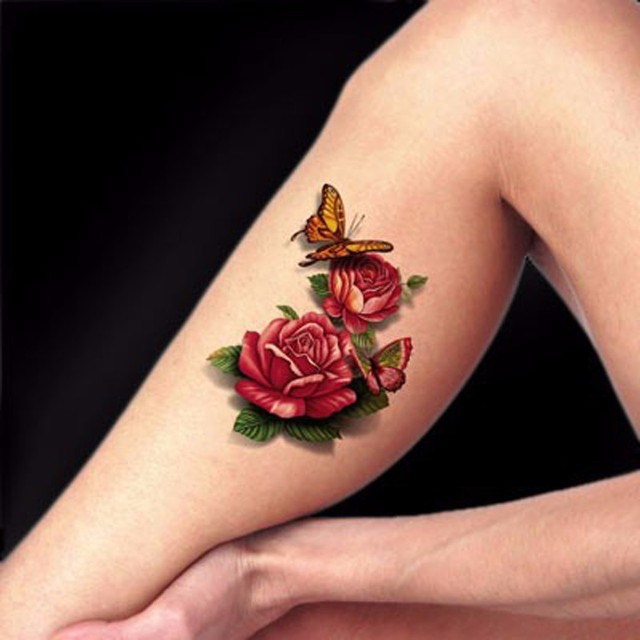 2PCS 3D Fake Small Rose Body Art Glitter Tattoo Sleeve Stickers For ...