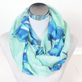 Fashion Big Blue Flower Loop Scarves Shawl Winter Women Chevron Gray Red Flowers Warm Print Infinity Scarf Wave Stripe Ring Wrap