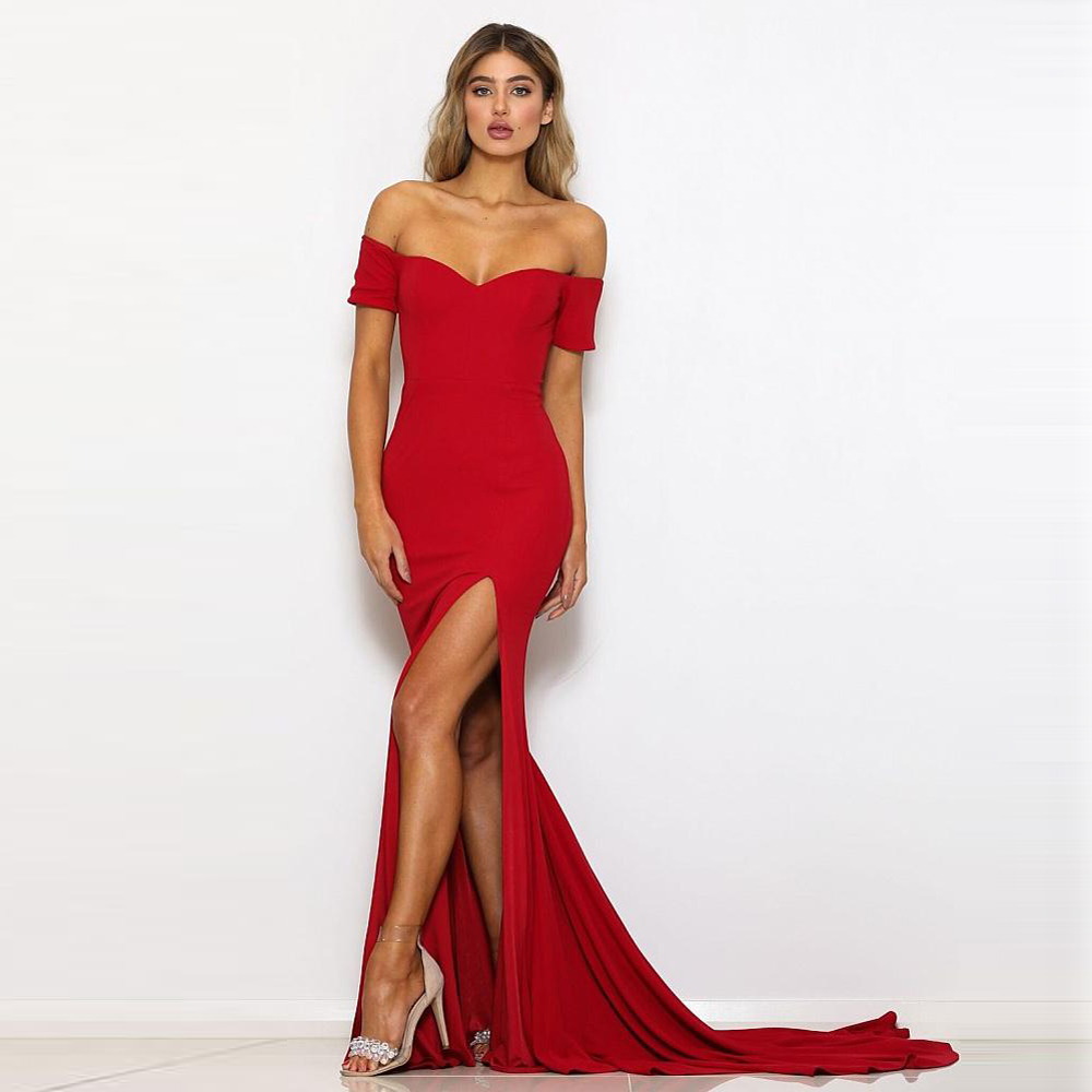 2019 Off Shoulder Bridesmaid Floor Length Dress Leg Split Stretchy Bodycon Night Dress Backless Zipper Red Prom Dress