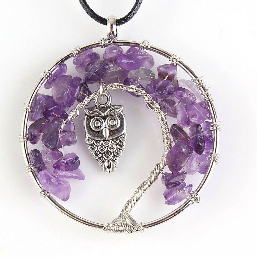 Na moda-contas de prata chapeado fio wrap árvore da vida inlay coruja sabedoria pingente roxo ametistas colar com corrente de corda preta