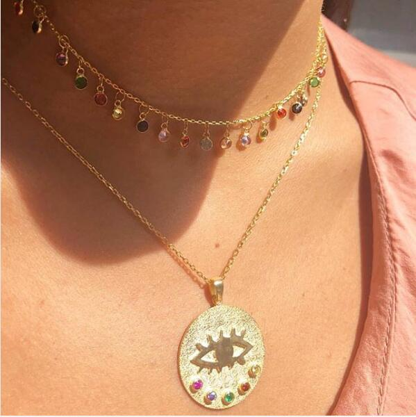 lucky symbol coin necklace gold color multi color cz fashion jewelry evil eye Boho style 2019 latest new arrivedlucky symbol coin necklace gold color multi color cz fashion jewelry evil eye Boho style 2019 latest new arrived