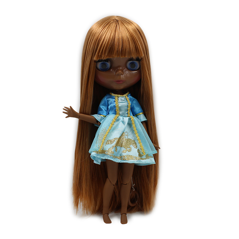 fortune days factory blyth doll super black skin tone darkest skin 280BL0545 brown straight hair 1/6 30cm fortune days factory blyth doll super black skin tone darkest skin dark brown hair joint body 1 6 30cm bl0521