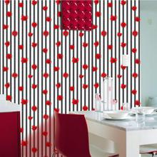 Lovely Cartoon Red Flowers Wallpaper Baby Girl Kids Room Decoration Wall Paper 3d Stripes Floral Mural Wallpapers Roll ZE095