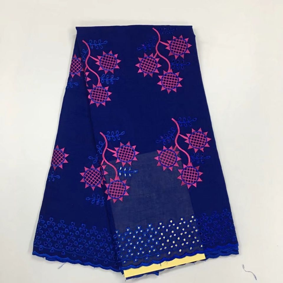 5Yards Most popular royal blue african cotton fabric embroidery swiss voile lace fabric for dress HS14 4