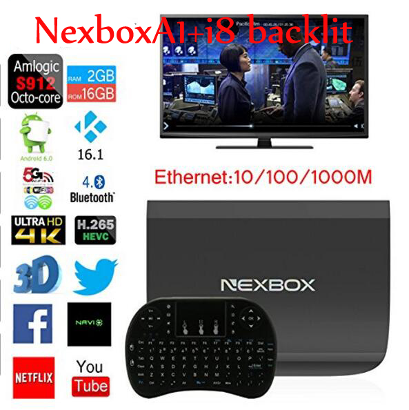 ФОТО 10pcs NEXBOX A1 TV Box Amlogic S912 Octa Core 64bit Android 6.0 KODI 16.1 4K 2GB+16GB Smart TV Box WiFi Support DLNA Miracast