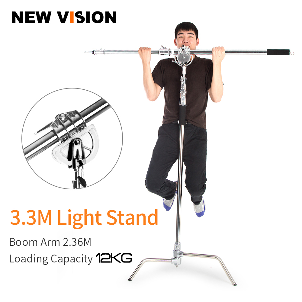 Metal Max Height 330cm Adjustable Reflector Stand with 115 236cm Holding Boom Arm for Photography Studio