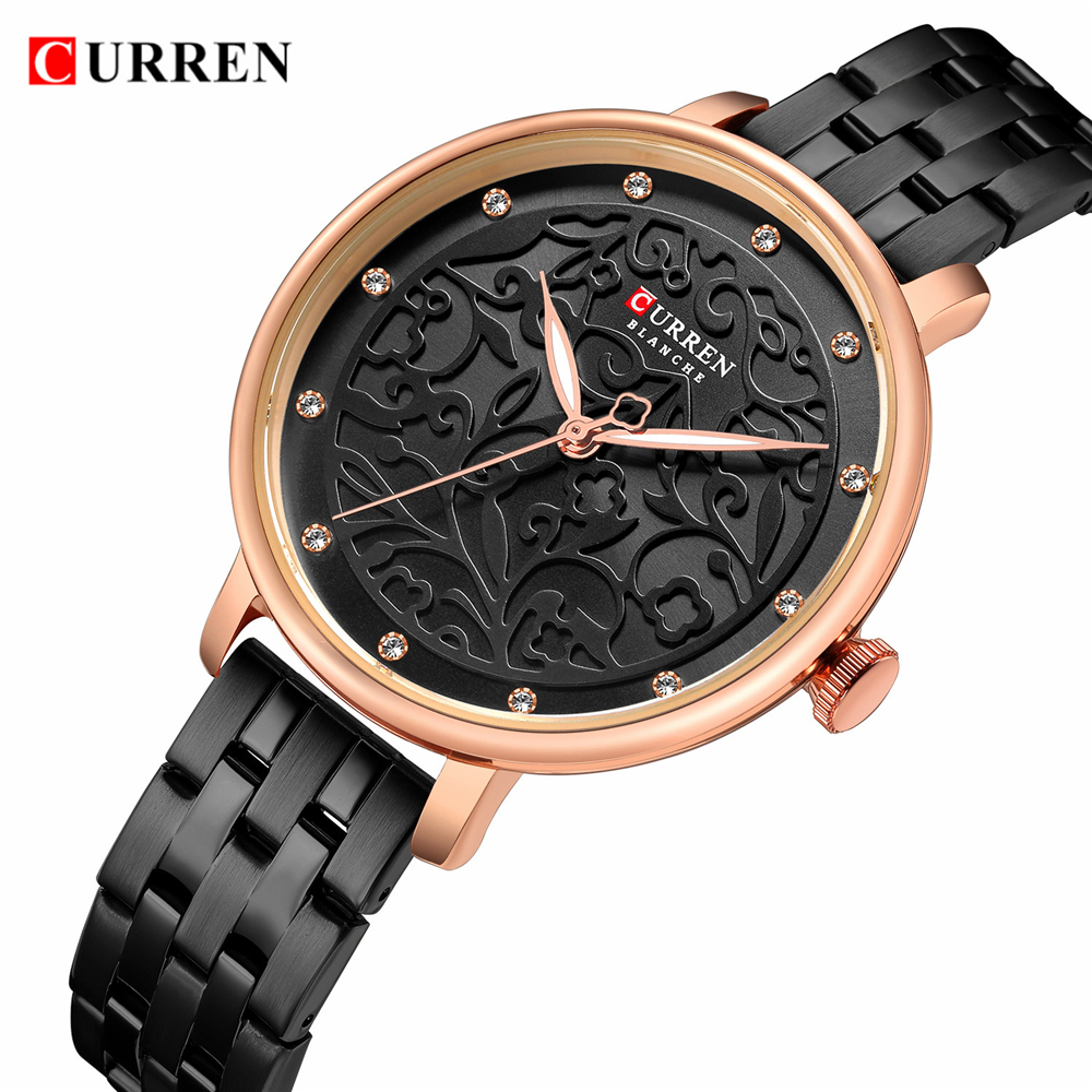 New Ladies 2019 CURREN Stylish Brand Quartz Watches Women Casual Dress Beautiful Steel Clocks Black Strap 9046 Montre Femme title=
