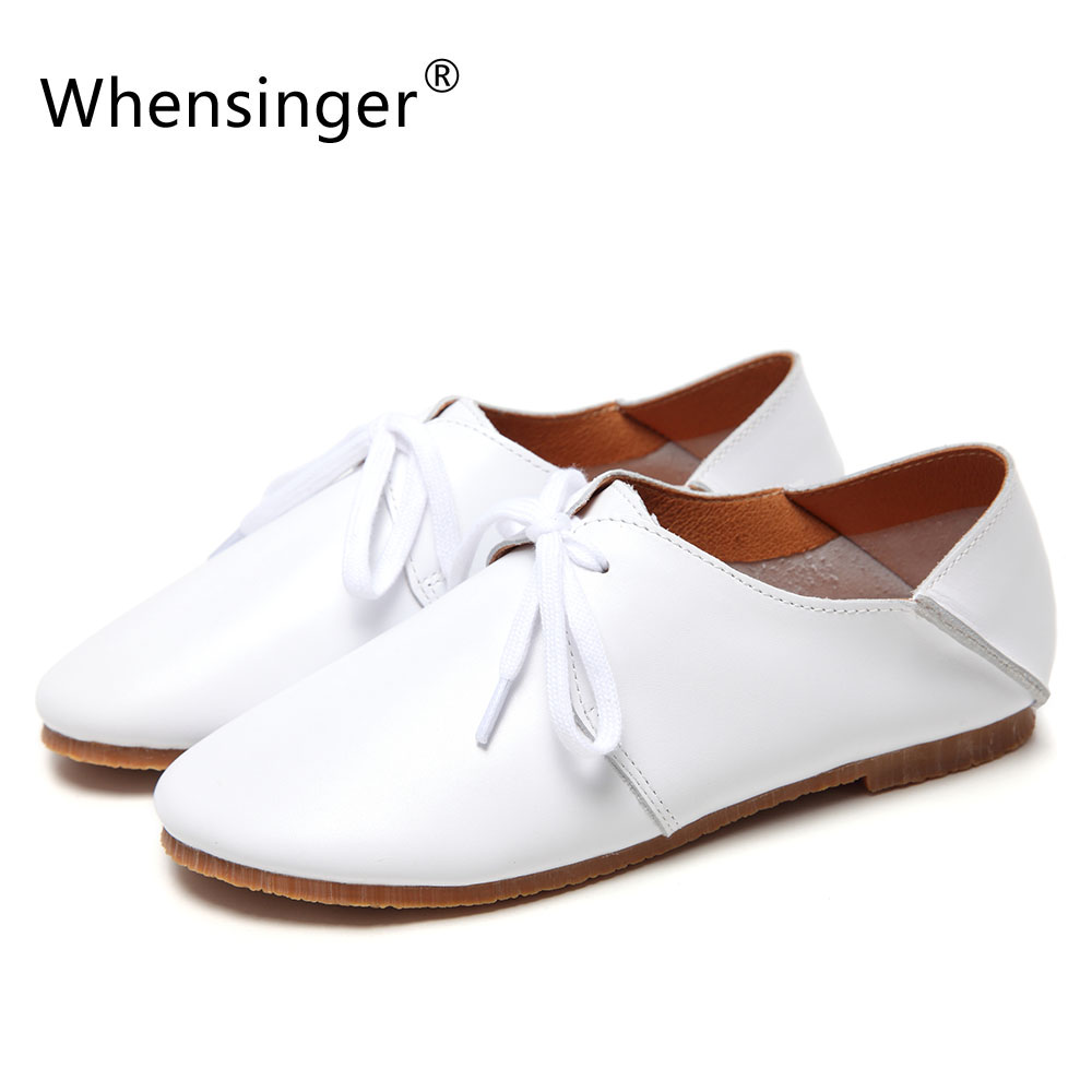 Whensinger - 2017 Woman Flats Brand Genuine Leather Fashion Shoes Lace-Up Solid Round Toe Design For Spring Autumn 968-3 pjcmg fashion spring autumn pointed toe black red lace up flats round toe genuine leather oxfords men dress wedding shoes