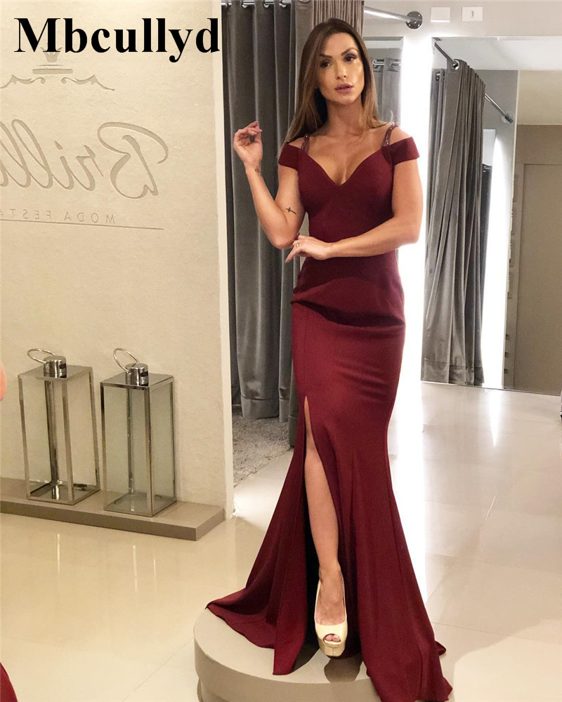 Mbcullyd Burgundy Mermaid Prom Dresses 2019 Sexy Backless Long Floor Length Dress Evening Wear Cheap Sale robe de soiree