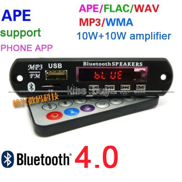 Bluetooth 4.0 Stereo Receiver FLAC WAV WMA MP3 APE Audio Decoder Board 10W+10W Power Amplifier Digital Display Led 12v Car
