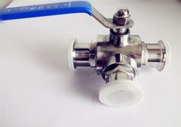 Free Shipping 3/4(19mm)T pattern Three Way Stainless Steel Sanitary Tri clamp Ball Valve SS304 OD50.5