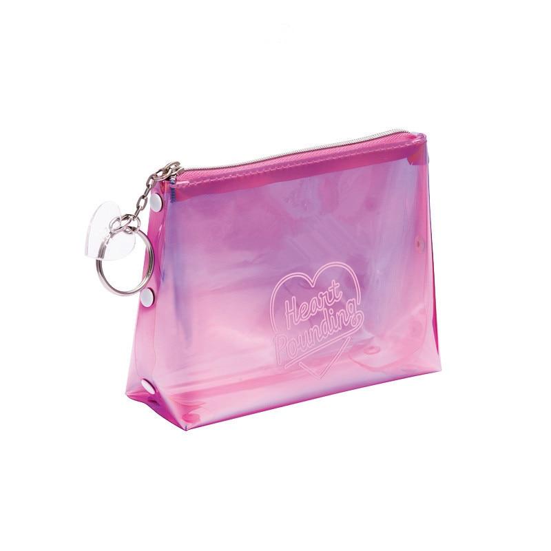 Women Portable Letter Print Laser Transparent PVC Cosmetic Bag Travel Storage Pouch Makeup Bags 15