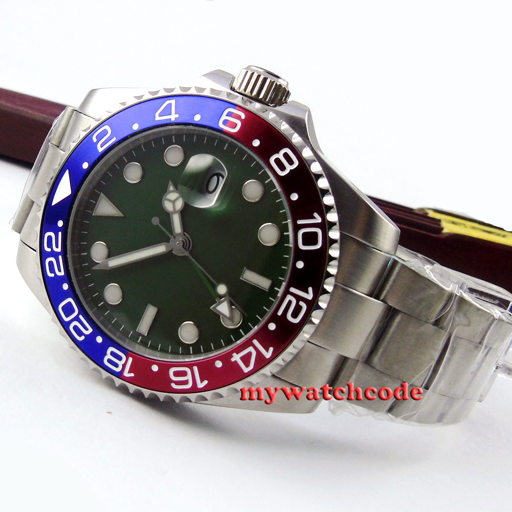 parnis green olive dial GMT sapphire glass automatic movement mens watch P372 40mm parnis white dial vintage automatic movement mens watch p25