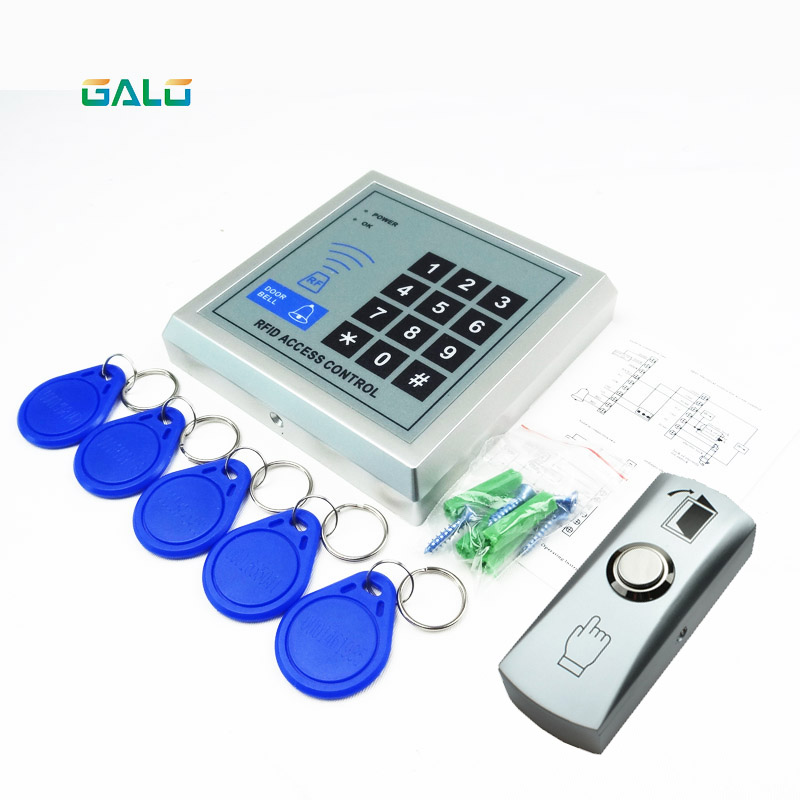 Access Control Security RFID Proximity Entry GATE Door Lock Access Control System 500 User +5 Keys+push button exit security rfid proximity entry door lock access control system 500 user with 10 keys