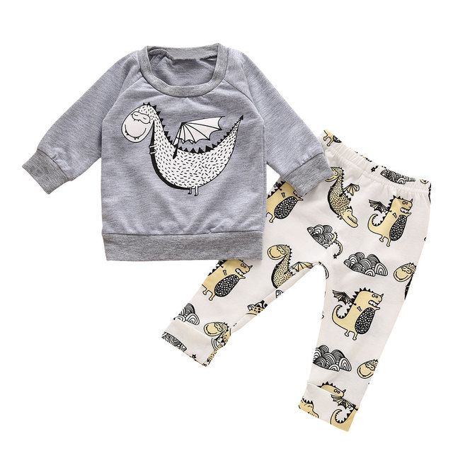 Babykleding Print.2 Stks Set Babykleding Sets Jongens Meisjes Warm Animal Print Lange