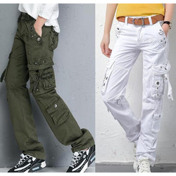 New Women's Autumn winter Pants Army Green military cotton cargo pants women loose Multi pockets straight Street Dance trousers