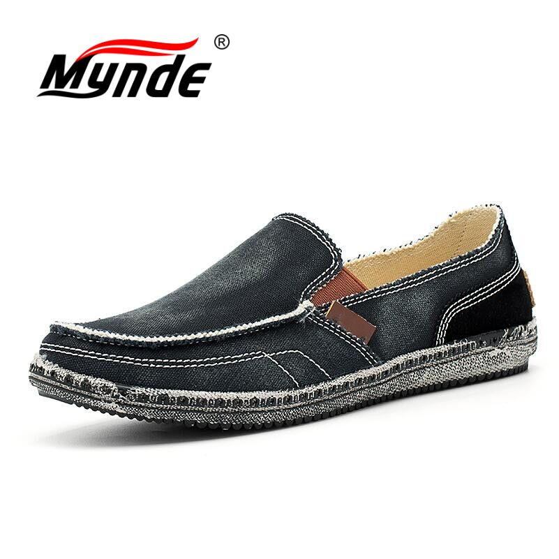 MYNDE 2018 Summer Casual Men Canvas Shoes Breathable Flats Men Casual Shoes Slip On Men Fashion Jeans Canvas Lazy Shoes