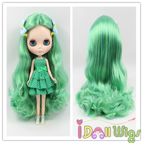 Dynamic High Quality Long Loose Wavy Apple Green Blended Colors Baby Doll Hair Wigs Bright Luster