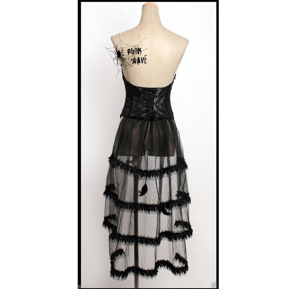 Punk Rave noir Sexy gilet gothique Vampire Rock femmes Bandage haut avec queue de dentelle Y304 - 2