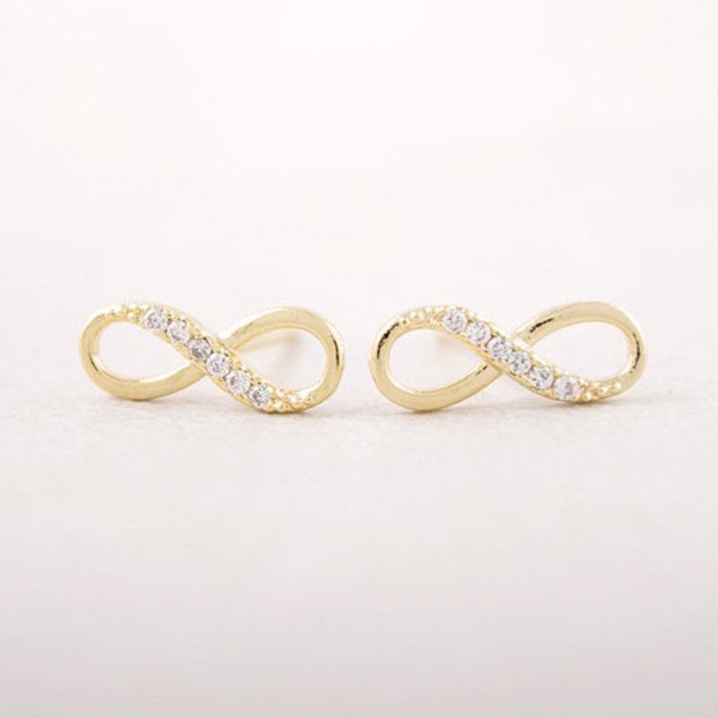 Everfast 1Pair 3Color Fashion Zircon Infinity Stud Earrings Eight Eternal Love Symbol For Women Lady