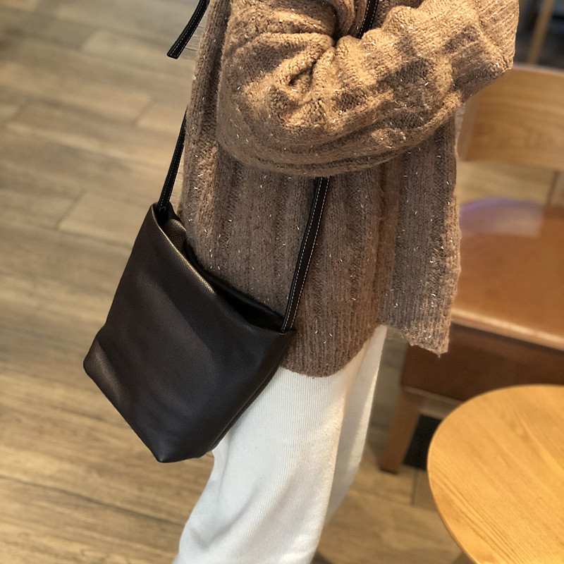 PNDME casual genuine leather black ladies shoulder bag cowhide leather simple bucket bag fashion women 39 s cross messenger bags in Shoulder Bags from Luggage amp Bags