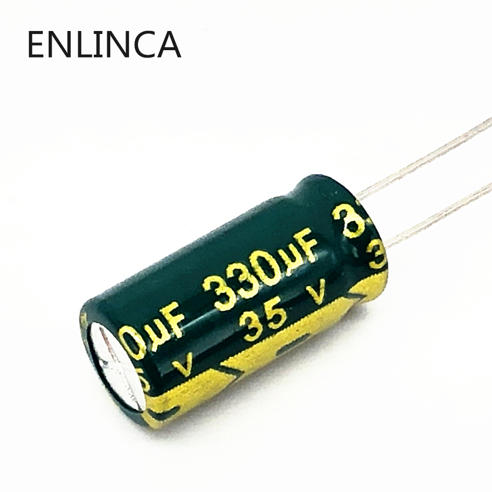 50pcs/lot T26 35v 330UF Aluminum Electrolytic Capacitor Size 8*16mm 330UF35V 20%