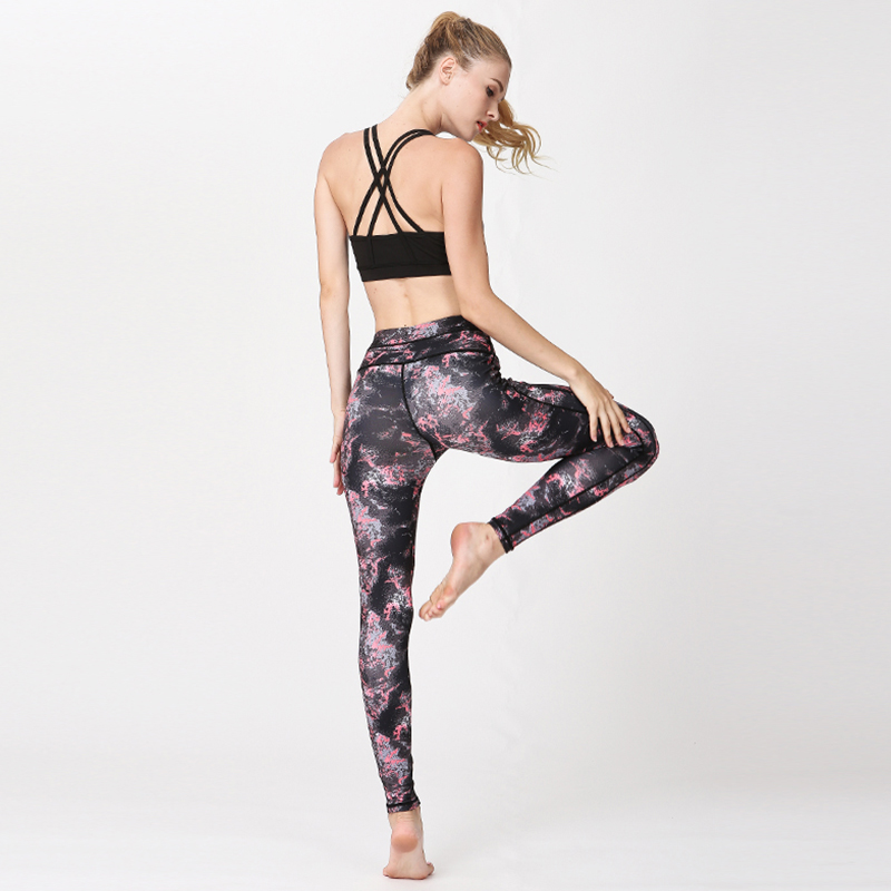 US $14.41 37% OFF|Fitness Women Leggings Gym Sports Tights Pants XL Four Pin Six Wire Digital Printing Breathable Quick Drying Comfortable Pants|Yoga