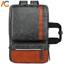 Alena Culian Brand Men's Leather Backpack Large Capacity 15.6 inch Laptop Bagpack For Man Vintage Patchwork Men Travel Backpacks