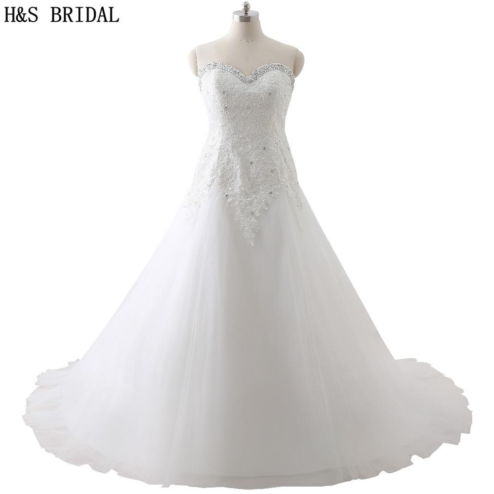 f6efdd45ec Sweetheart Koronka Aplikacja plus rozmiar suknia ślubna vestido de noiva  Sheer Powrót Zroszony Tulle Lace Up Suknie Ślubne tanie rzeczywistym zdjęcie
