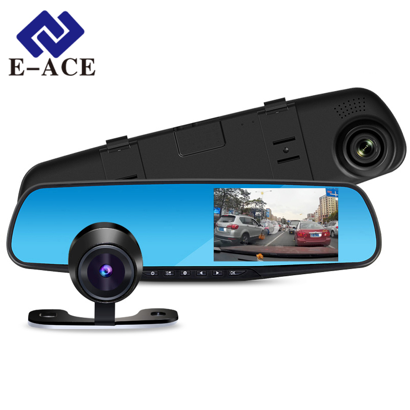 E-ACE Car Dvr 1080P Dual Lens Dash Camera Rear Mirror Digital Recorder With Rearview Camera Video Recorder Camcorder Registrar 1080p car dash camera dvr with dual lens 4 screen