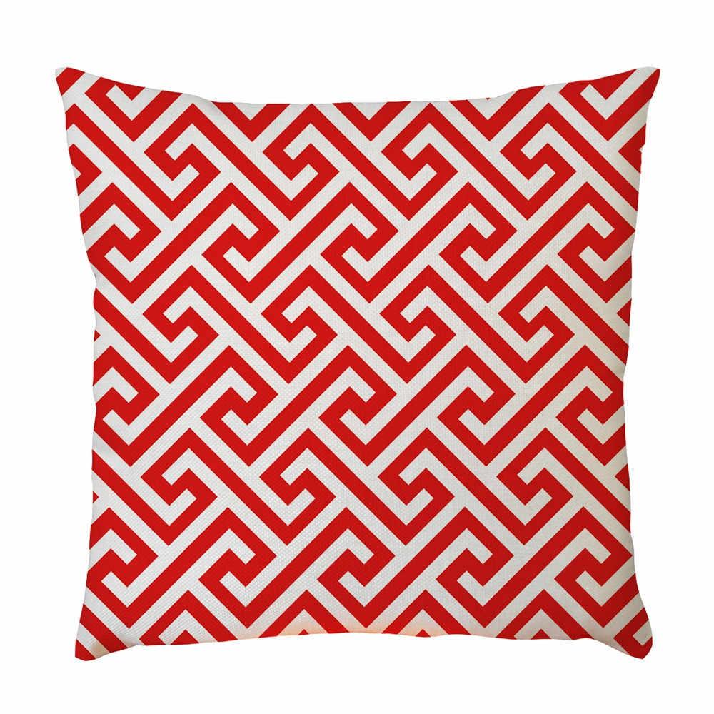 Yeni Geometrik baskılı keten kumaş Yastık Kılıfı bel yastığı Kapak Oturma odası kanepe yatak odası Ev Dekoratif Kare yastık