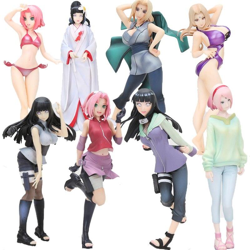 Anime Naruto Gals Shippuden Tsunade Hyuuga Hinata Sakura Haruno Swimsuit Ver. PVC Figure Model Toys