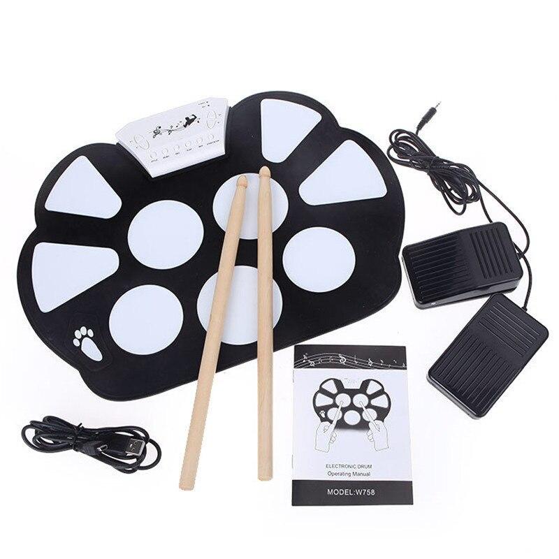 Mini Kit de tampon de tambour enroulable électronique Portable en Silicone ensemble de rouleau de tambour pliable avec bâton pédale pilons USB câble Audio