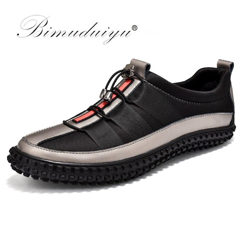 BIMUDUIYU Элитный бренд Лидер продаж Повседневная обувь для Для мужчин осень мода светло дышащая мужская обувь Для мужчин кожаные тапочки плоск...