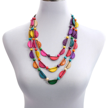 цена на Chic Geometric Wooden Beaded Strand Necklace Wholesale Multicolor Coconut Shell Choker Layered Handmade Knitted Bohemian Jewelry