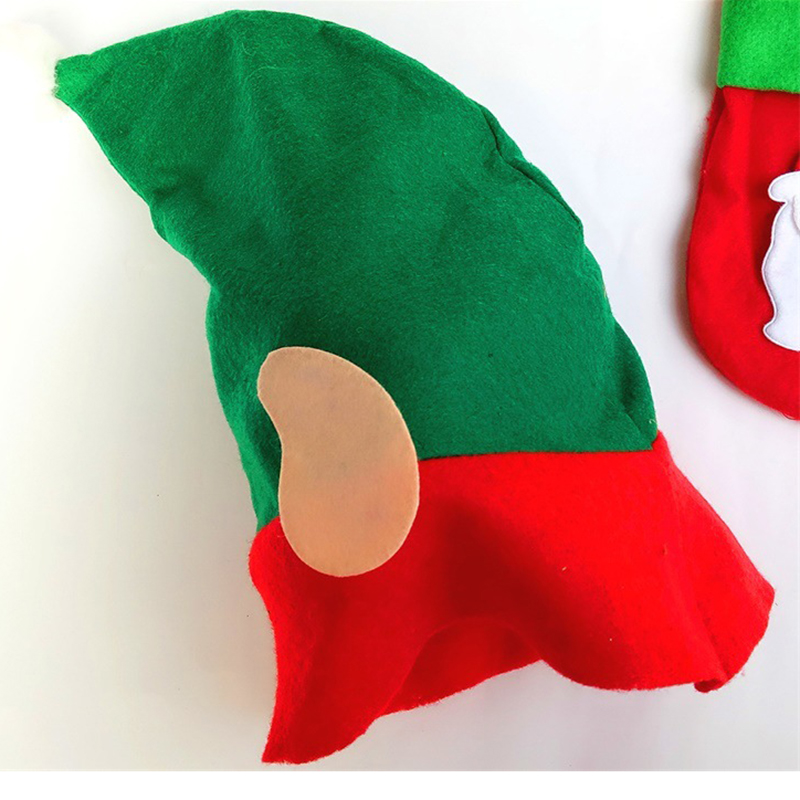 цена на 2017 Christmas Hat For Children Unique Cute Shape Boys Girls Hat Red Green Patchwork Kids Happy New Year Party Gifts Decoration